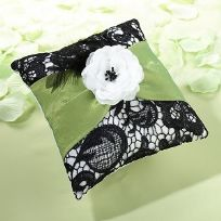 Green And Black Lace Wedding Ring Cushion